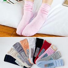 Autumn Women's Knitted Stockings 2018 New Retro Dots Decorate Casual Elastic Ladies Stocking Female Girls Meias Pink 10Pairs QMH