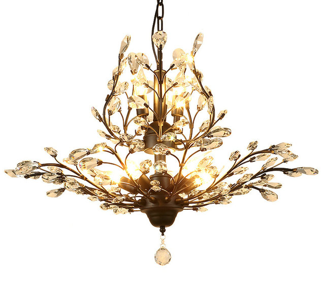 Lustre K9 Crystal Luxury Modern Wrought Iron Chandelier Lighting Chandeliers for Dining Room Living Room Loft Home Lighting