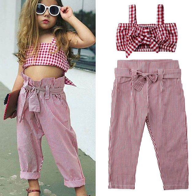 Toddler Kids Baby Girl Clothes Set Summer Sleeveless Plaid Bow Crop Top+Pants Plaid Cotton Casual Children Girls Clothing 1-7T