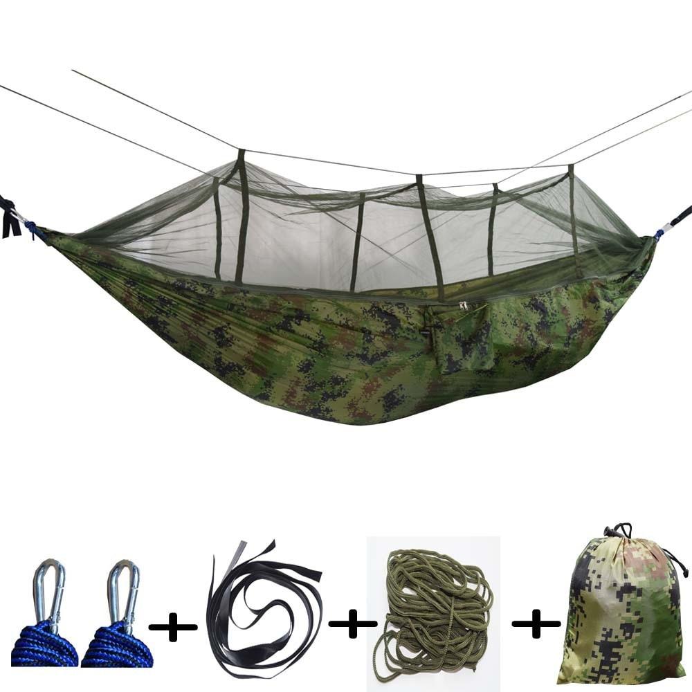 260 X 140CM Double Automatic Nnfolding Hammock 210T Nylon Material Ultralight Parachute Hammock Tunting Mosquito Net Lifting