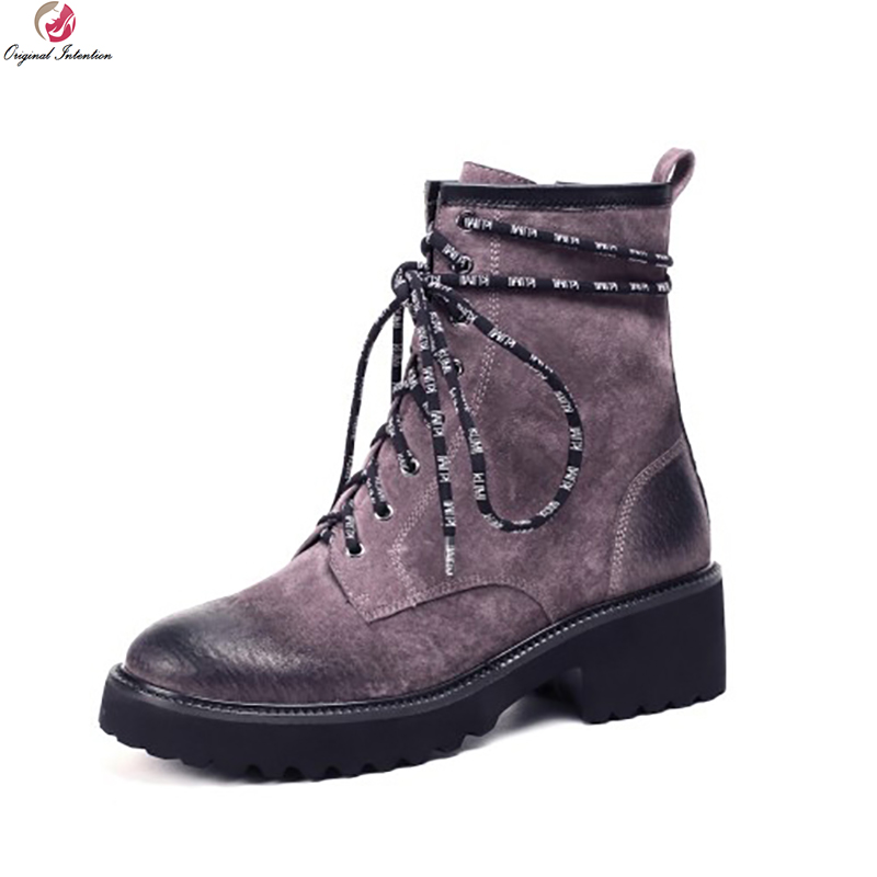Original Intention Elegant Women Ankle Boots Leather Round Toe Square Heels Boots Black Purple Green Shoes Woman US Size 4-10.5 equte rssc4c99s5 fashionable elegant titanium steel women s ring black us size 5