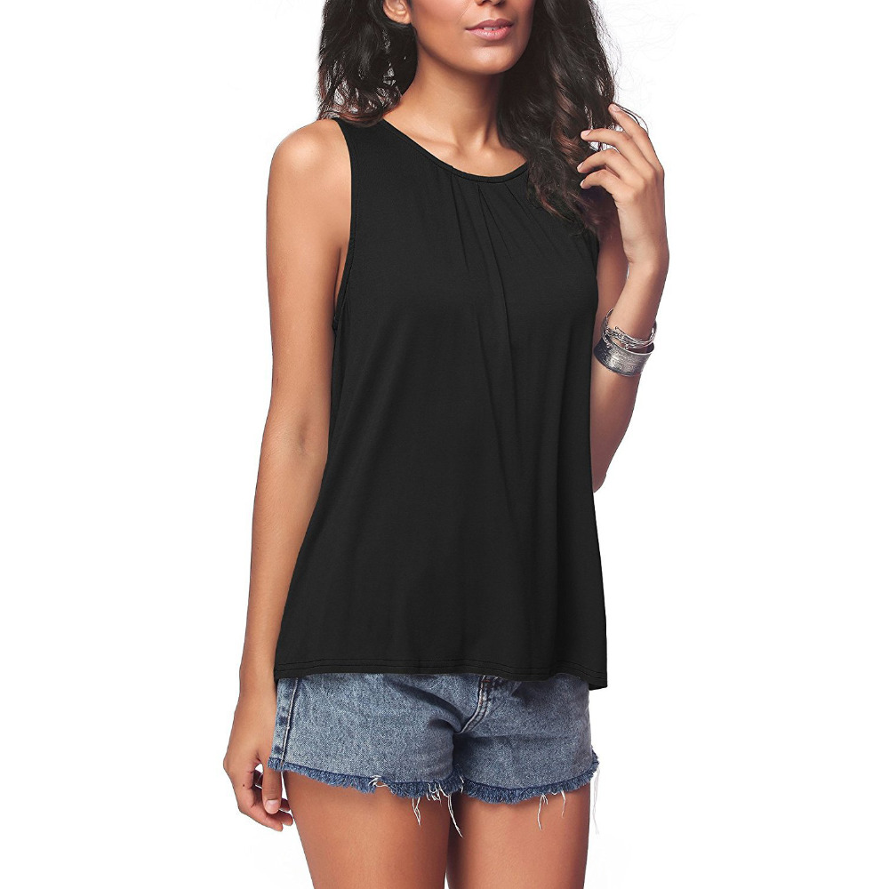 Women Cotton Sleeveless Pleated Shirt Solid Hollow Out Casual V Neck Summer Button Plus Size Button Loose Sexy Tee 5XL Fashion
