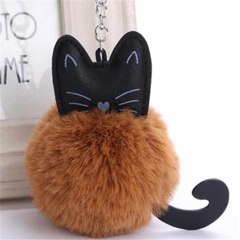 WKOUD милый мультяшный Кот пушистый меховой шар брелок мягкий помпон хвост животного меховой шар Авто брелок женский брелок подарки Llaveros