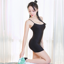 Sexy Women Strap Tight Pencil Cute Dress Ice Silk Smooth See Through Micro Mini