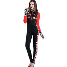 690142f02c Women Spandex Racer Car Jumpsuit Costume Sexy Racer Car Driver Costume  Uniforms Halloween Costumes Women Catsuit Nightclub CSM51