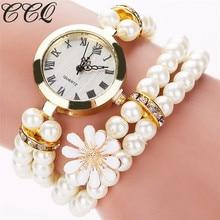 CCQ Luxurious Model Pearl Jewellery Bracelet Wristwatch Ladies Feminine Girls Crystal Informal Vogue Quartz Watch Relogio Reward C57