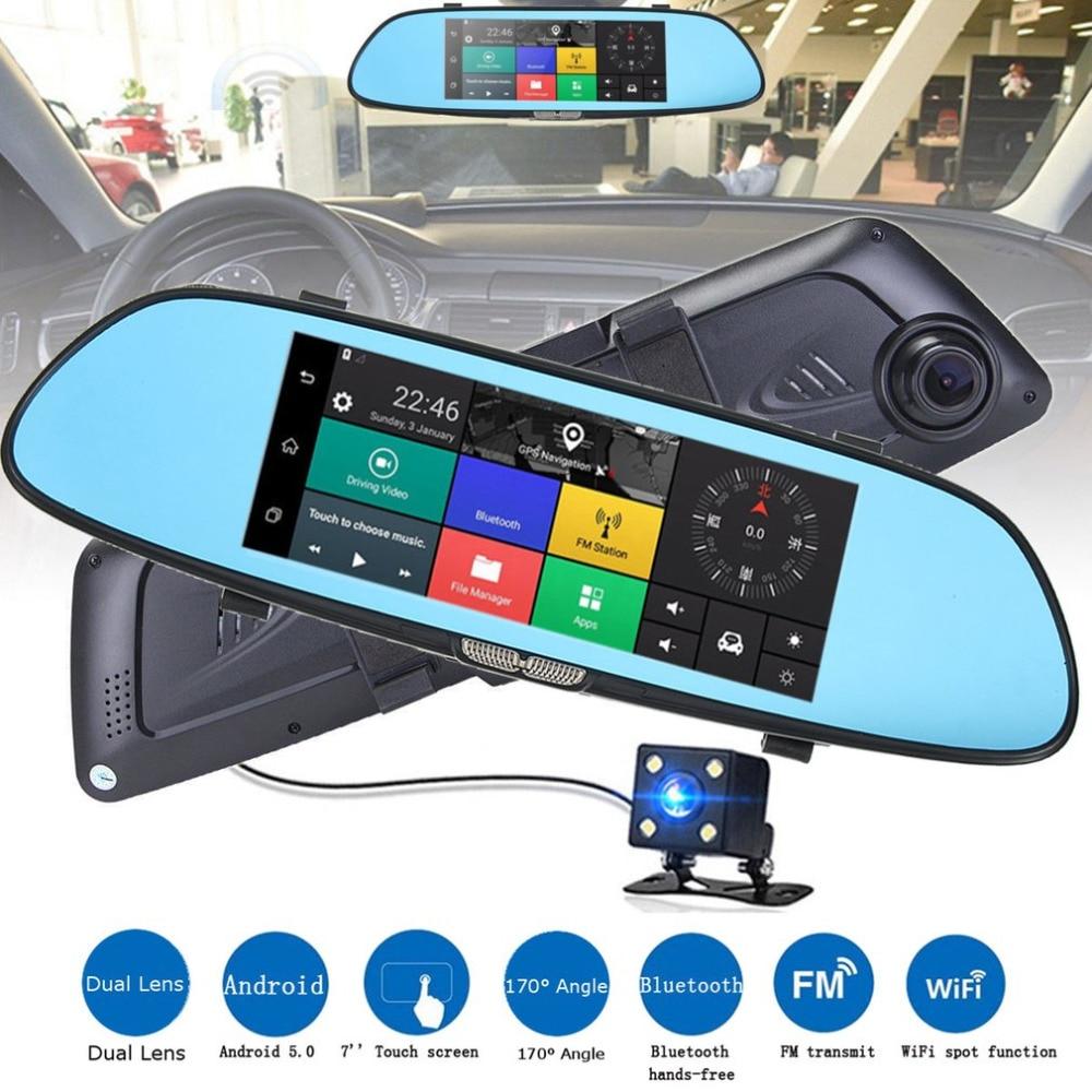 New Auto HD 1080P 7 Inch Screen Display Video Recorder G-sensor Dash Cam Rearview Mirror Camera DVR Car Driving Recorder Hot