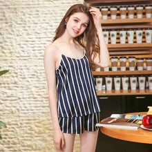 Silk Imitation Sling Lounge Set Sexy Nightgown Women Pajama Set Sexy Sleepwear Women Home Wear Nightwear(China)