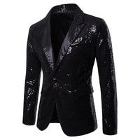 Men's Black Shiny Sequins Suit Blazer Wedding Groom Singer Stage Costume Homme Nightclub Bar DJ Prom Suit Jacket Blazer Hombre