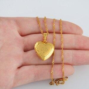 Image 2 - Anniyo serce Allah naszyjnik wisiorek dla kobiet biżuteria muzułmańska mężczyzn, złoty kolor Islam Chain naszyjniki prorok Muhammad #201902