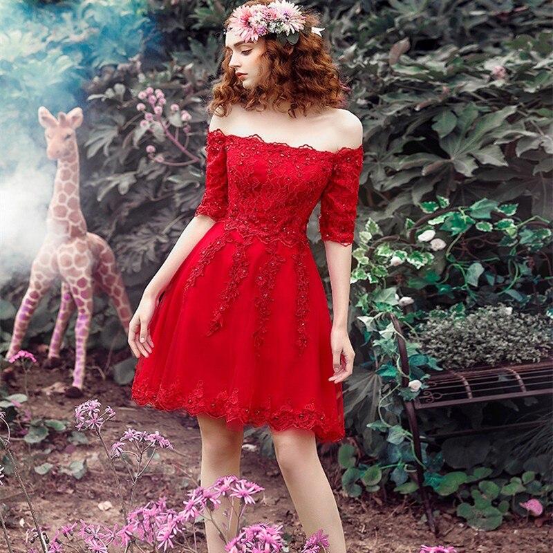 Simple Red Boat Neck Beading Lace   Bridesmaid     Dresses   Off The Shoulder Backless A-line Mini Vestido De Festa Short Party Gowns