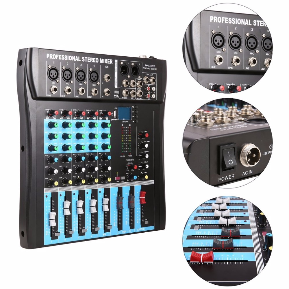 CT6 6 Channel Professional Stereo Mixer Live Audio Sound Console Vocal Effect Processor With 4-CH Mono & 2-CH Stereo Input