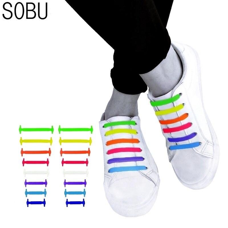 16pcs/lot And 12pcs/lot Shoes Accessories Novelty No Tie Shoelaces Unisex Elastic Silicone Shoelaces Rubber Shoelace N067