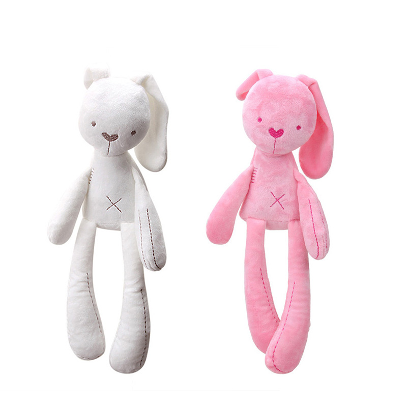 Pink/White 40cm Baby Rabbit Sleeping Comfort Doll Plush Toys Smooth Obedient Rabbit Sleep Calm Doll