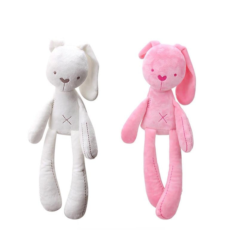 Pink/White 40cm Baby Rabbit Sleeping Comfort Doll Plush Toys Smooth Obedient Rabbit Sleep Calm Doll