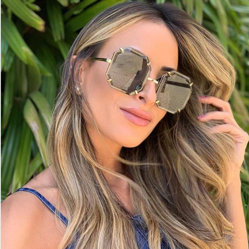 Vintage Oversize Square Sunglasses Women Luxury Brand Black Big Frame Glass Rimles Sun Glasses Female Shades Coulos in Women 39 s Sunglasses from Apparel Accessories