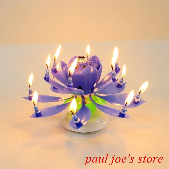 New Musical Spin Flower Party Gift Rotating Sparkler Cake Topper Amazing Happy Birthday Candle Blue