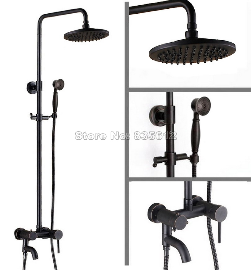 Black Oil Rubbed Bronze Bathroom Rain Shower Faucet Set W/ 8 Shower Head + Wall Mounted Single Handle Bathtub Mixer Taps Wrs362