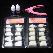 fake nails set  nail clipper  false nails with glue for decorating professional white natural french manicure acrylic Half