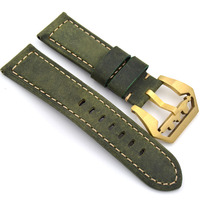Handmade 24mm Vintage Green Italy Calf Leather Strap, Retro Watchband For Pam And Big Watch,Free shipping