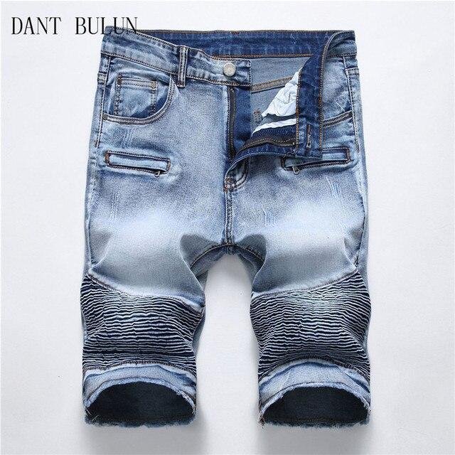 cfb5e5ac DANT BULUN Ripped Biker Jeans Men Shorts Men's Pleated Blue Denim Shorts  for Male Stretch Fashion Zipper Retro Short Pants
