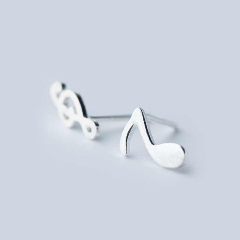 100% 925 En Argent Sterling L'asymétrie Musique Boucles D'oreilles Pour Les Femmes Empêcher L'allergie Brincos pendientes mujer moda 2018 A112