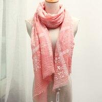 Genovega New Women Brand Embroidery Scarf Shawl Female High Quality Lady Tassel Ring Scarf Flower Bandana
