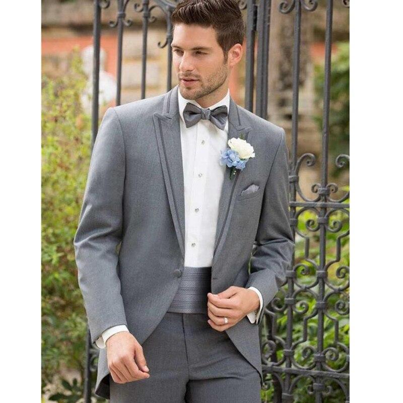 ộ_ộ ༽Men Tuxedo Jacket Custom Made Grey Men Slim Fits Suit three ...