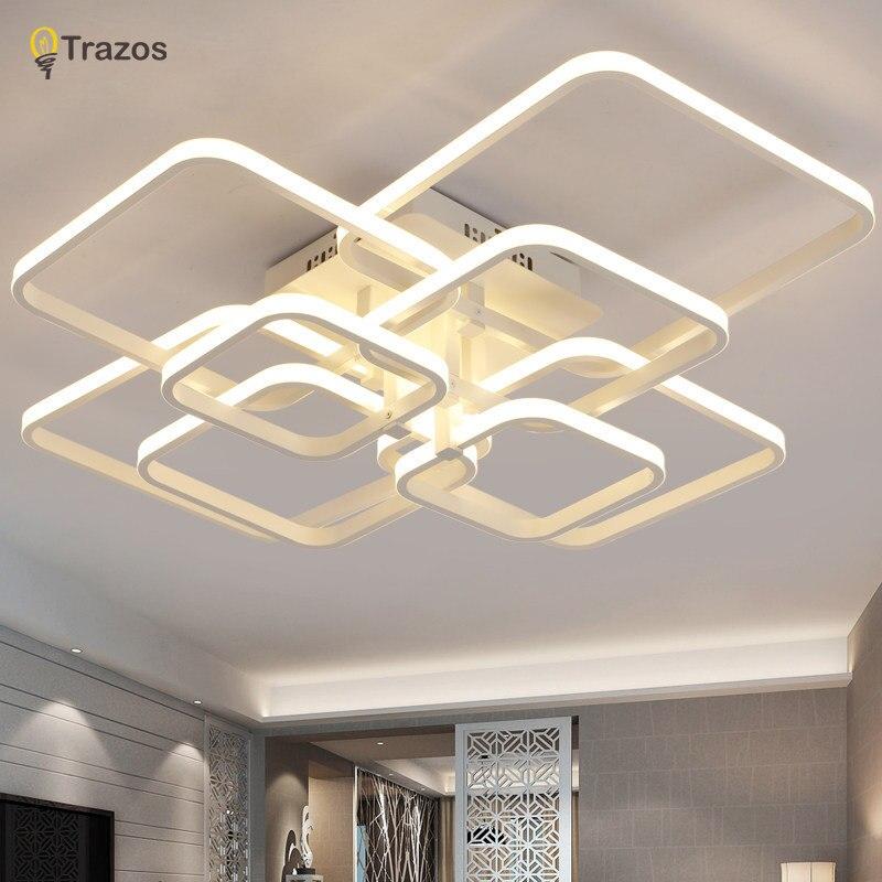 Trazos 2018 Rectangle Acrylique En Aluminium Moderne LED plafonniers pour le salon chambre AC85-265V Blanc Plafond Lampe Appareils