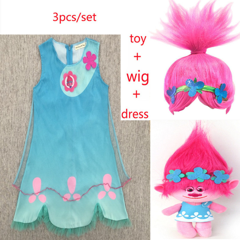 6d310afdcf2 New Children trolls Dress toy Costumes Girls Summer dress For Party Kids poppy  lace Dresses Princess