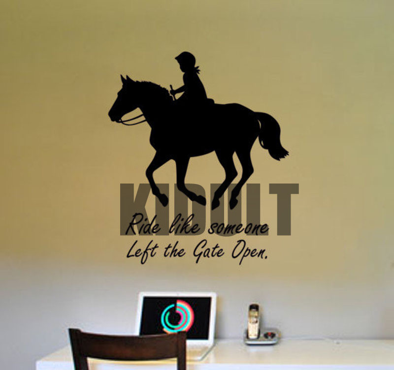 horse wall decal horse rider quote sticker girls teen bedroom wall