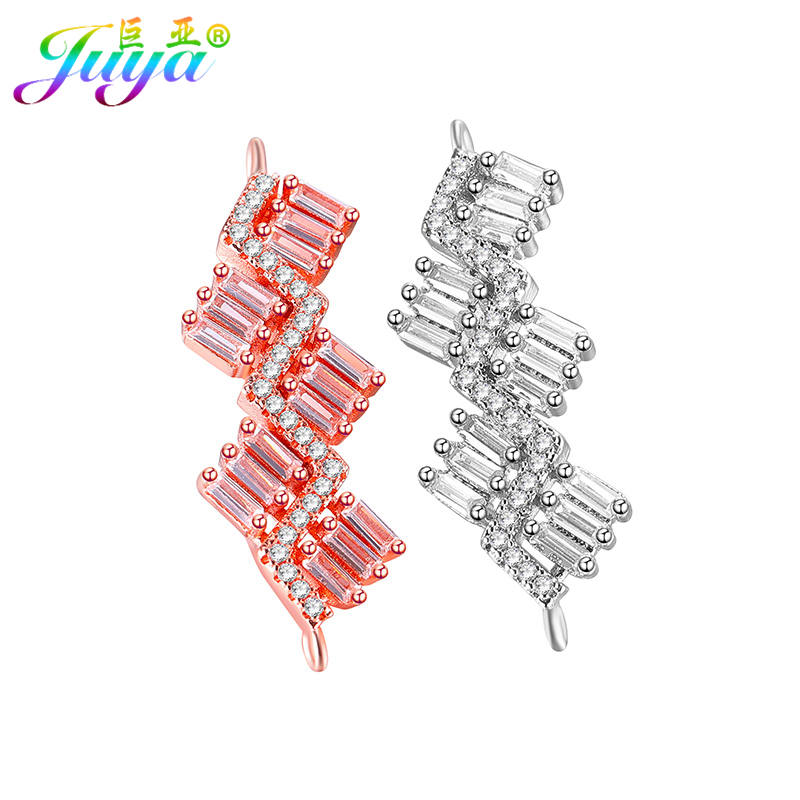 Wholesale CZ Rhinestone Connector Charms Lobster Chains Earrings Hooks Findings Components For Women Fashion Jewelry DIY Making