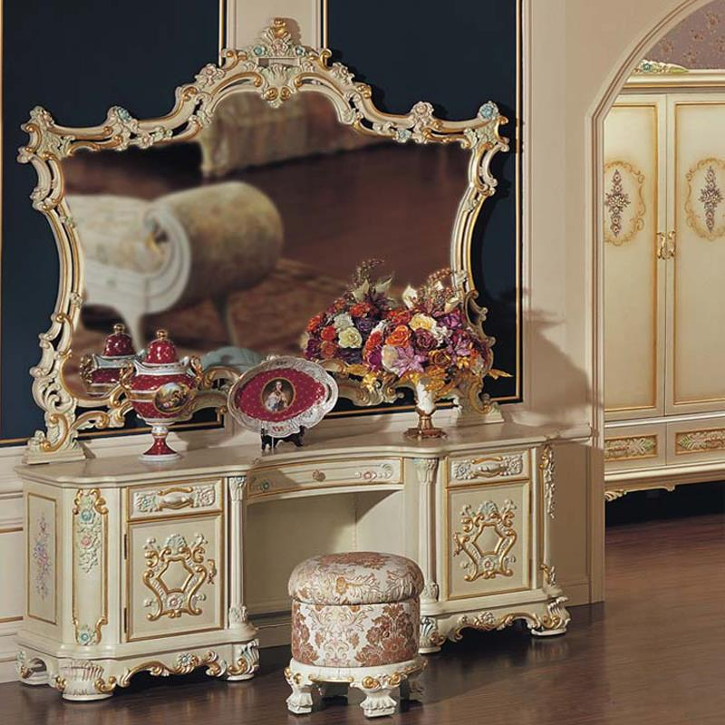 luxury makeup vanity. Baroque Luxury Makeup Dressing Table With Mirror. European Classical Carved Wood And Bedroom Furniture-in Dressers From Furniture On Vanity Y