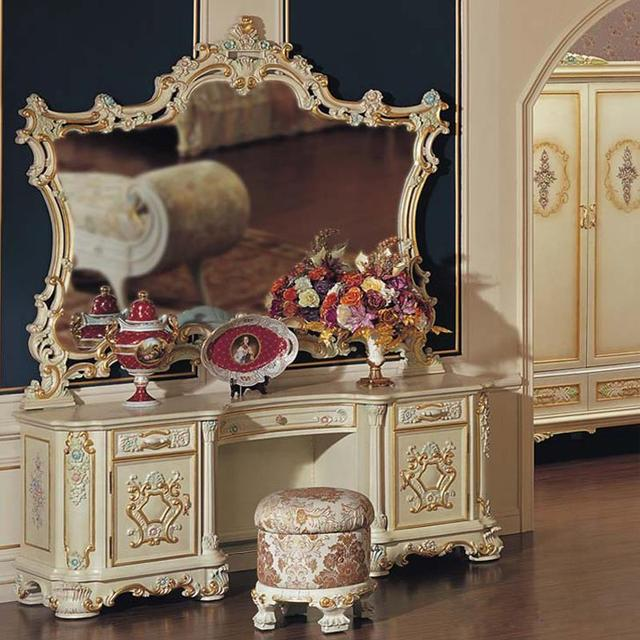 Baroque Luxury Makeup Dressing Table With Mirror. European Classical Carved Wood Dressing Table ...
