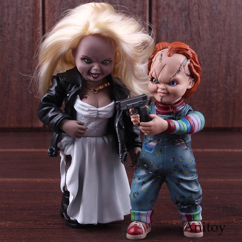 цены на Childs Play Bride of Chucky Toys Chucky & Tiffany Doll PVC Action Figure Horror Collectible Model Toy в интернет-магазинах