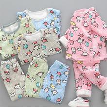 1-4Years мальчиков и Комплекты одежды для девочек осень-зима Термальность Long John рисунком теплые Нижнее бельё пижамы комплекты одежды из 2 предметов