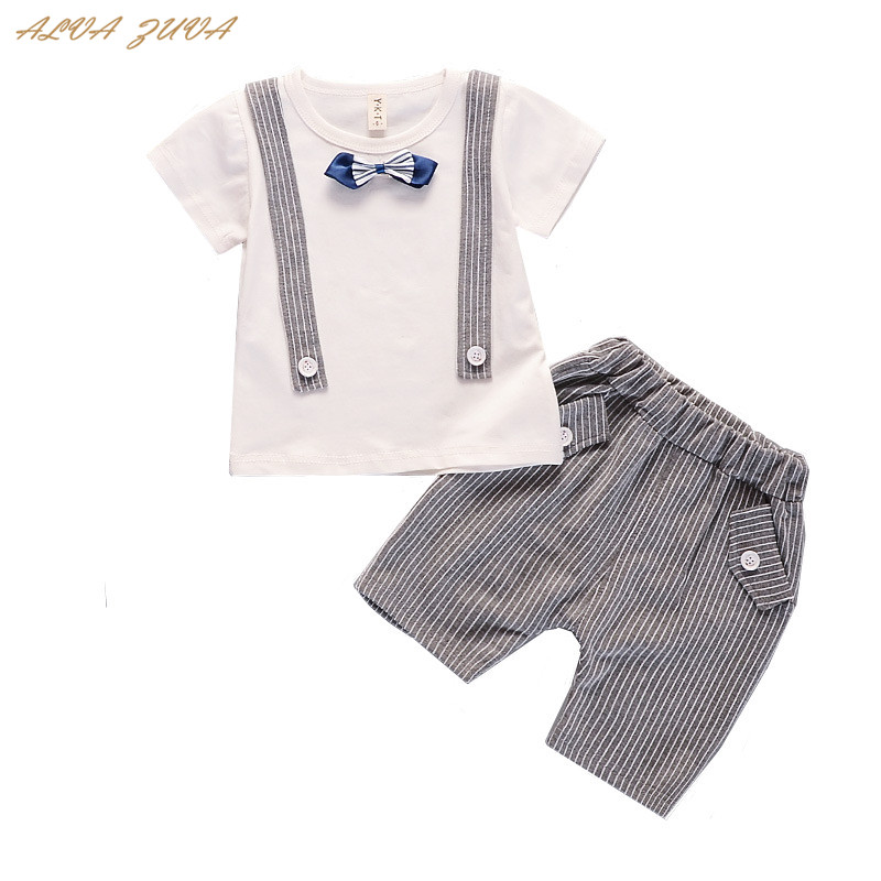ALVA ZUVA 2018 Summer Gentlemen Suit Korean Baby Boys Bow Tie Shirts+Casual Shorts 2 Pc/Set Cyy137