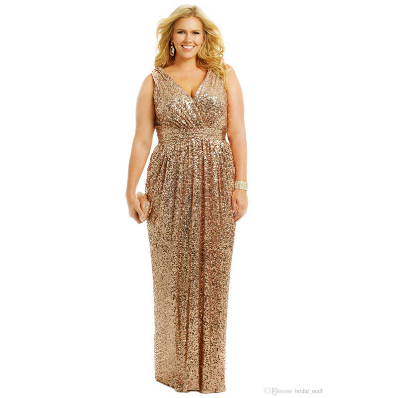 Gold Sequin robe de soiree v-neck vestido de noiva Formal prom Gown Plus Size For Women   Bridesmaid     dress   for wedding party