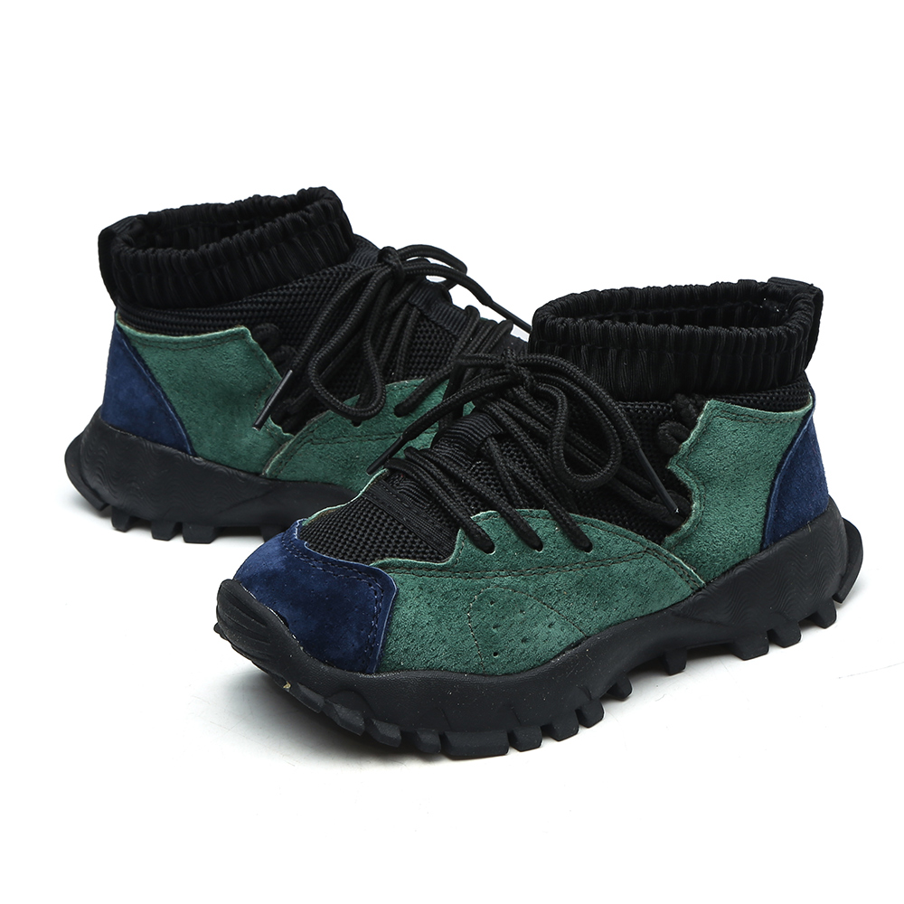Meninos e meninas ankle boots deslizar sobre sapatos chaussure zapatos moda flexível sola de couro genuíno crianças botas de tornozelo sapatos flyknit