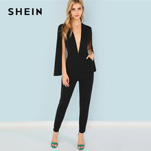 SHEIN Black Highstreet Office Lady Plunging Neck Cloak Sleeve Modern Sexy Maxi Tapered Jumpsuit Autumn Women Workwear Jumpsuits
