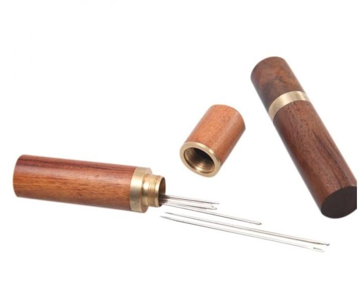 Горячая DIY ручной работы кожаный инструмент ручной иглы коробка для хранения игла из сандалового дерева хранения игольница инструмент для ...