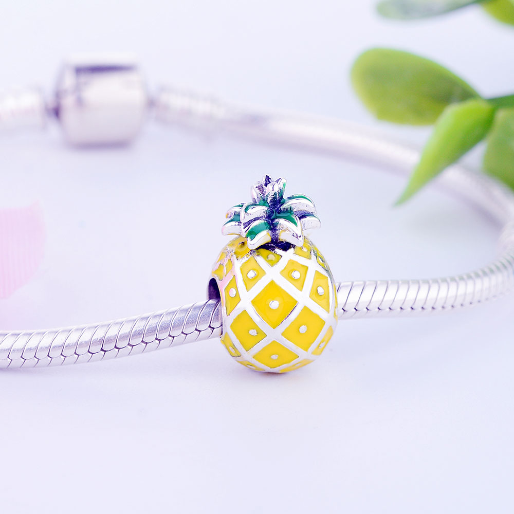 PINEAPPLE Sterling Silver Plated Dangling Charm Bead For European Charm Bracelet