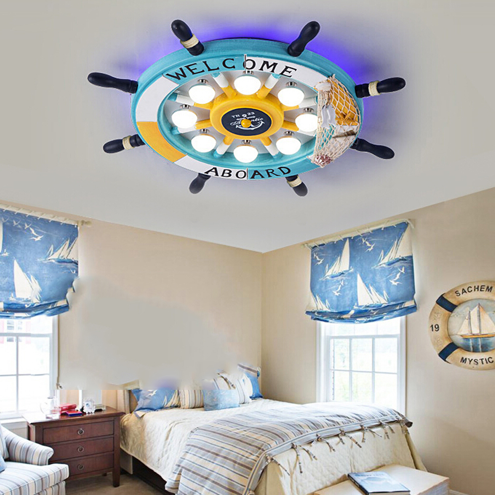 Kids bedroom ceiling lights - Mediterranean Led E27 110v 220v Rudder Cartoon Kids Ceiling Light Led Wood Child Led Ceiling