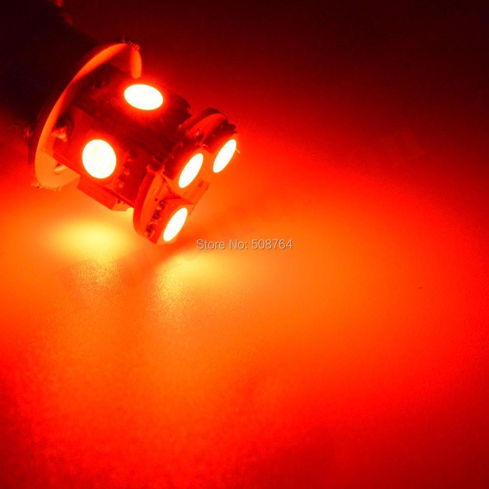 2 STK 6V 1156 BA15S P21W S25 Bärnsten Röd Vit 5050LED 9Chips - Bilbelysning - Foto 5