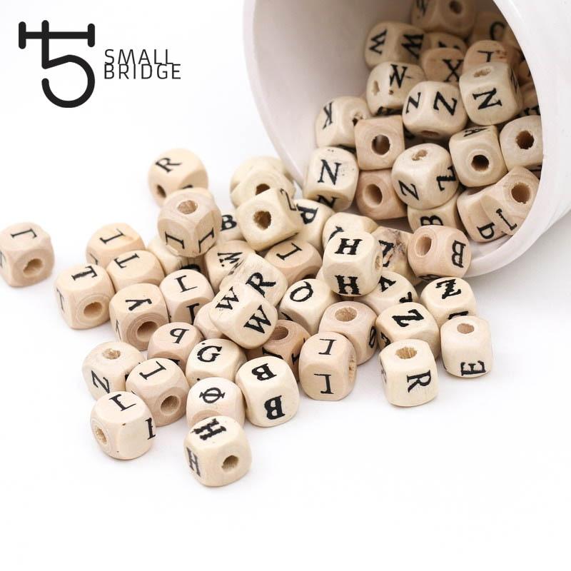 100 шт., деревянные бусины с натуральным алфавитом, 10 мм