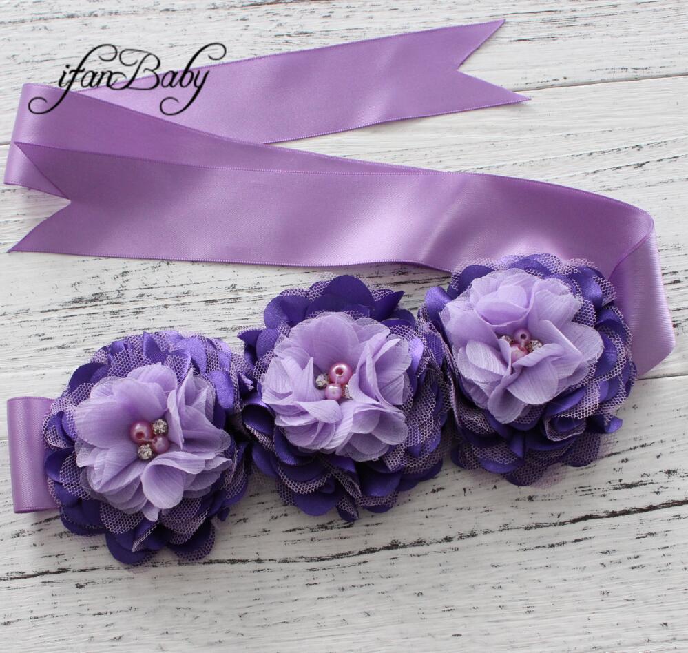 Модные туфли со стразами узор атласной ткани цветок пояса ленты для девочки пояс - Цвет: 01