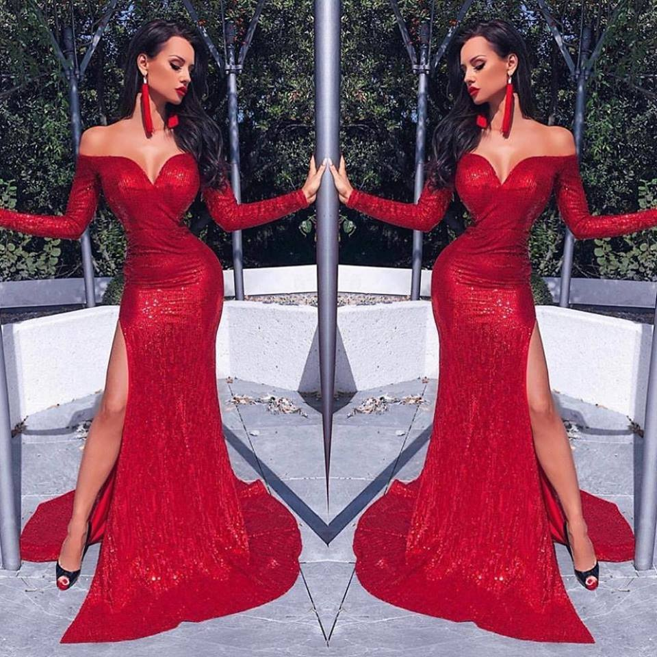 Sexy Red Mermaid Long   Prom     Dresses   2019 Elegant Off The Shoulder Sequins   Prom   Gowns Long Sleeve V-Neck Slit Party   Dresses