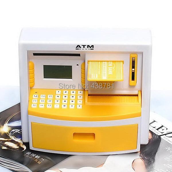 2014 New Free Shipping Creative ATM Money Bank Password Safe Coin Money Box Piggy Bank Kids Automatic Xmas Birthday Present
