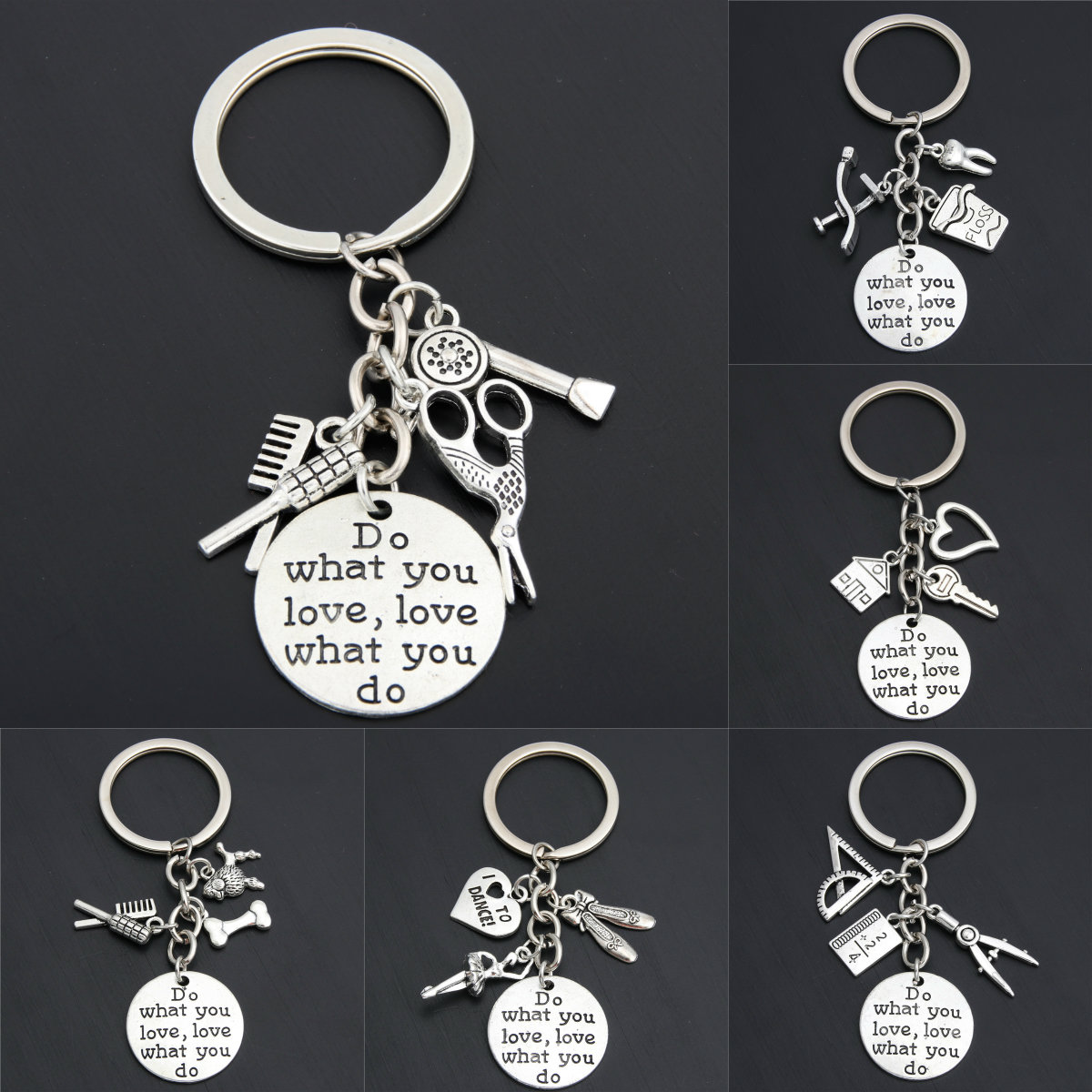 1pc Newest Style Job Occupation Women&Men Keychain Dentist Chef Biochemist Engineer Keyring Key Chains image