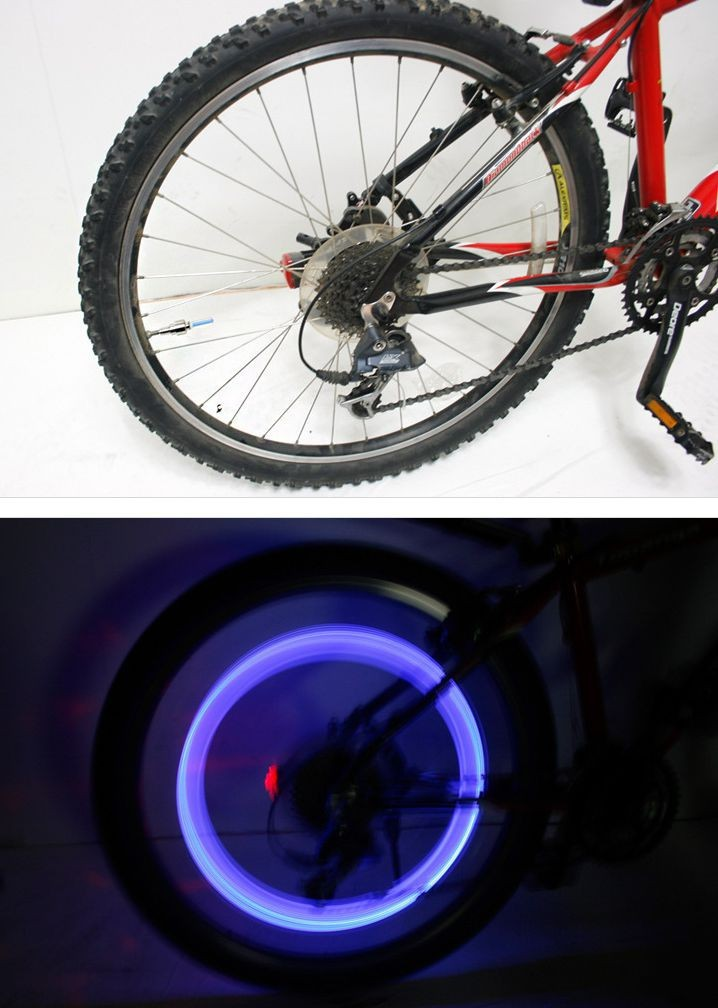 Tyre Tire Valve Caps Wheel spokes LED bike bicycle light (5)